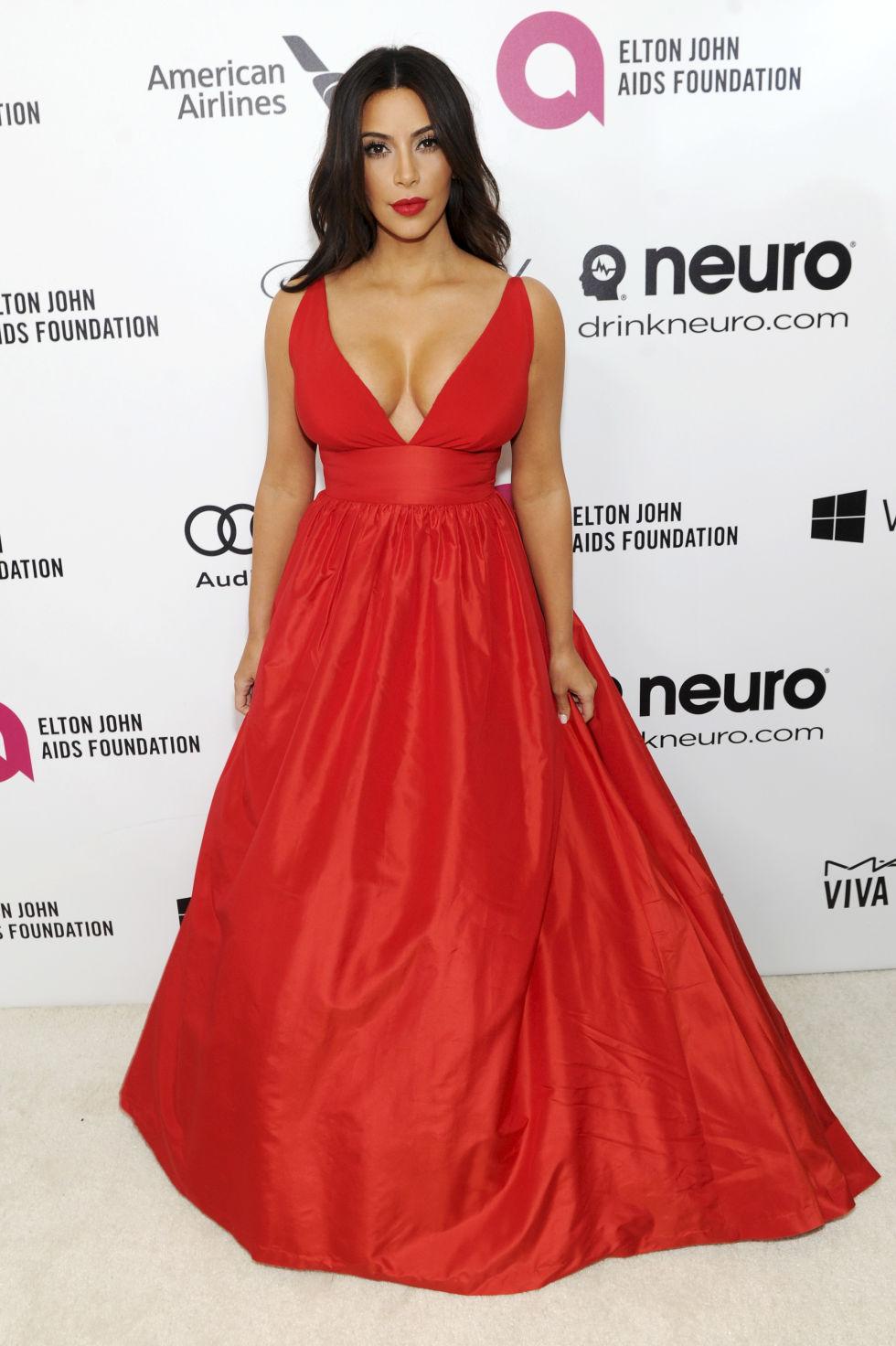 Kim kardashian long red dress