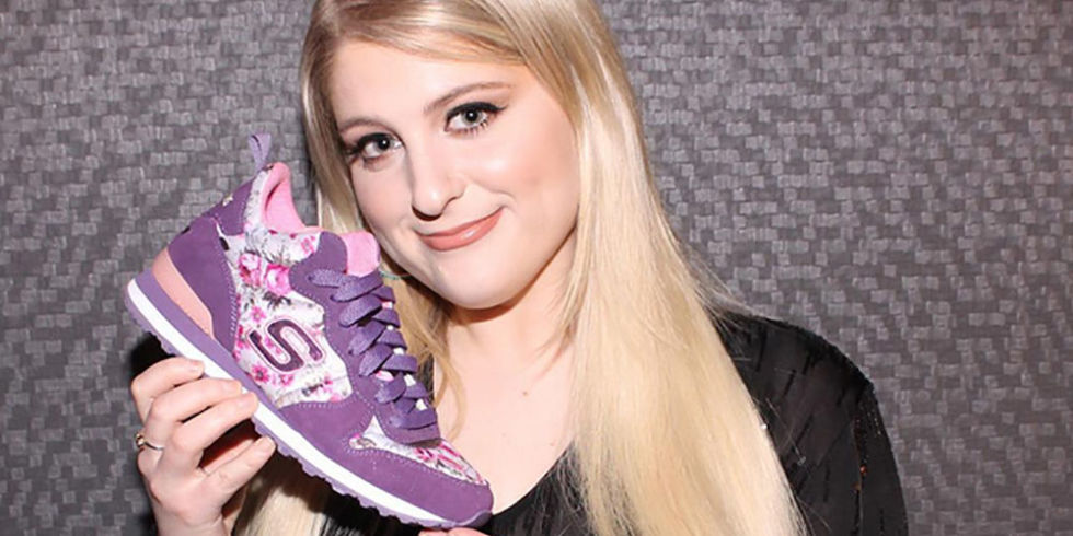 Meghan trainor is officially the new face foot of skechers trainers