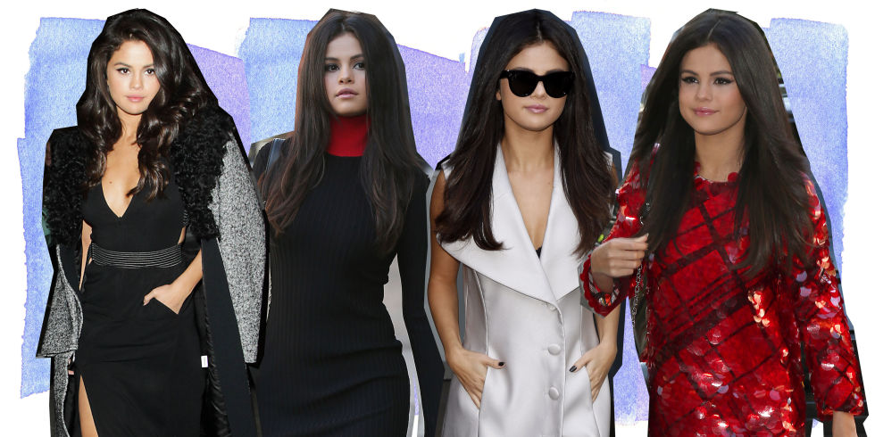 Selena Gomez wearing four different outfits