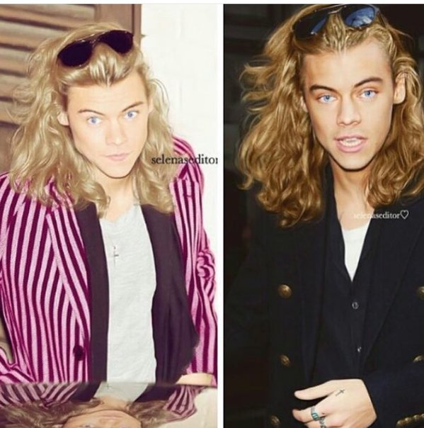 Harry Styles with blonde hair and blue eyes